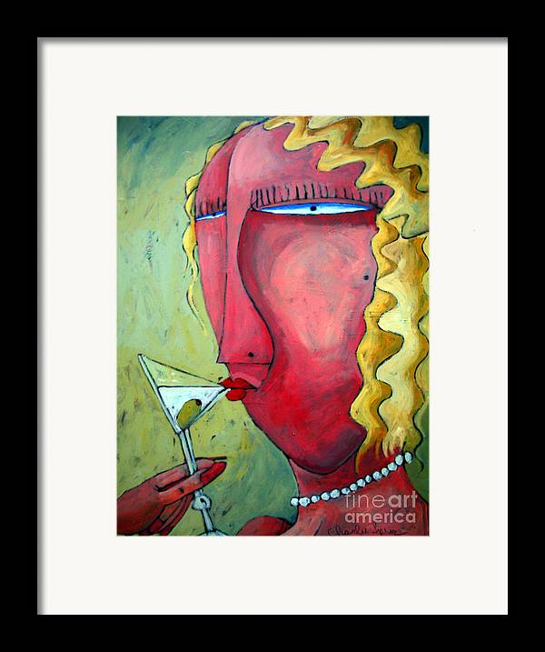 Cocktails Framed Print featuring the painting Cocktail Hour by Charlie Spear