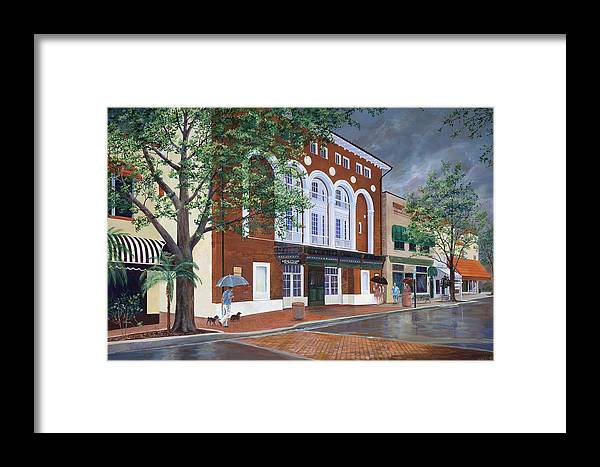 Florida Framed Print featuring the painting Cocoa Village Playhouse by AnnaJo Vahle