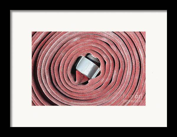 Close Up Framed Print featuring the photograph Coiled Fire Hose by Skip Nall