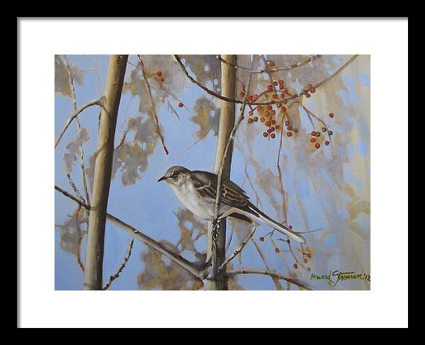 Bird;nature;outdoor;landscape;trees;sky; Framed Print featuring the painting Cold Day by Howard Stroman
