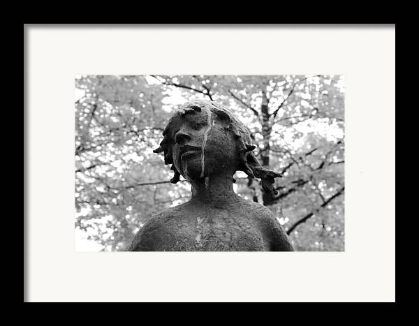 Girl Child Statue Black White Monochrome Tree Trees Expressionism Impressionism Framed Print featuring the photograph Cold Girl by Steve K