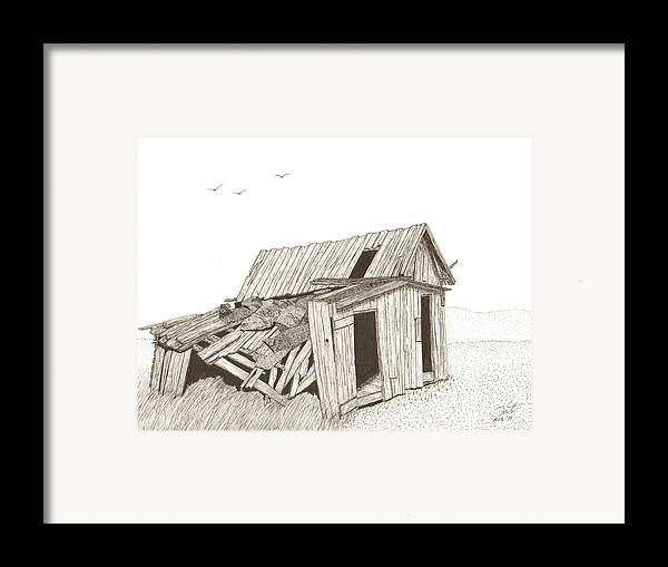 Pen And Ink Framed Print featuring the drawing Collapsed by Pat Price