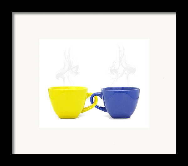 Cup Framed Print featuring the photograph Color Cup With Hot Drink On White Background by Natthawut Punyosaeng