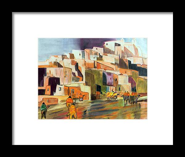 Adobe City Horses Native American Tribe Indian Colored Pencil Mexico Latin America Southwest Pueblo Framed Print featuring the drawing Colored Pencil Rendition Of A B.c. Nowlin Oil Painting by The Nothing Machine Ink