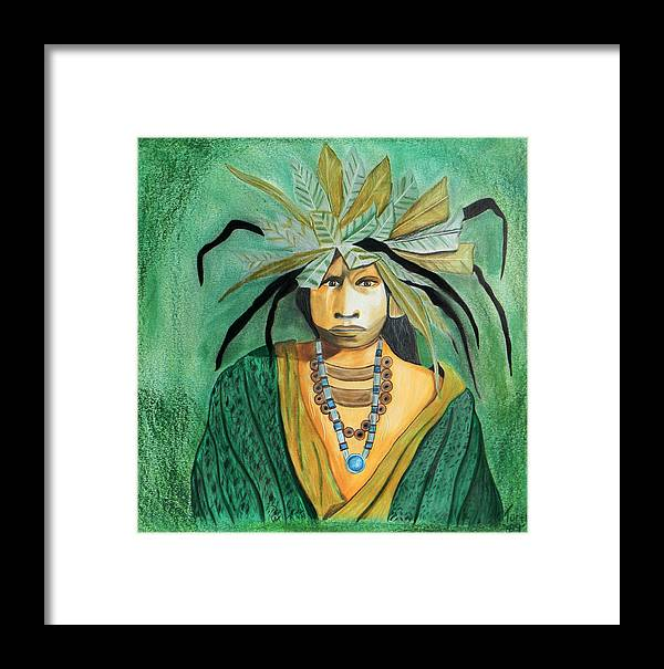 Native American Indian South American Descent Feathers Jewelry Green Yellow Colored Pencil J.d. Challenger Thom Toloy Early 1900's Hand Drawn Framed Print featuring the drawing Colored Pencil Rendition Of Jd Challenger's Voices And Visions by The Nothing Machine Ink