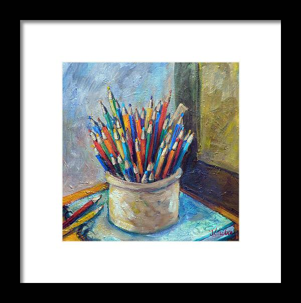 Colored Pencils Framed Print featuring the painting Colored Pencils In Butter Crock by Jean Groberg