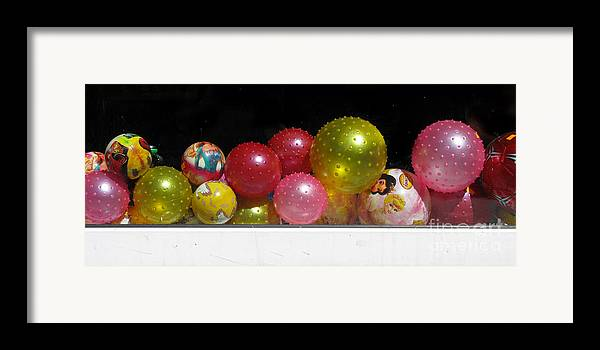 Still Life Framed Print featuring the photograph Colorful Balls In The Shop Window by Ausra Huntington nee Paulauskaite