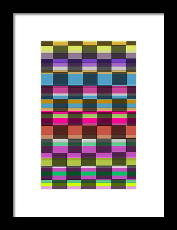 Colorful Cubes (digital) By Louisa Knight (contemporary Artist) Framed Print featuring the digital art Colorful Cubes by Louisa Knight