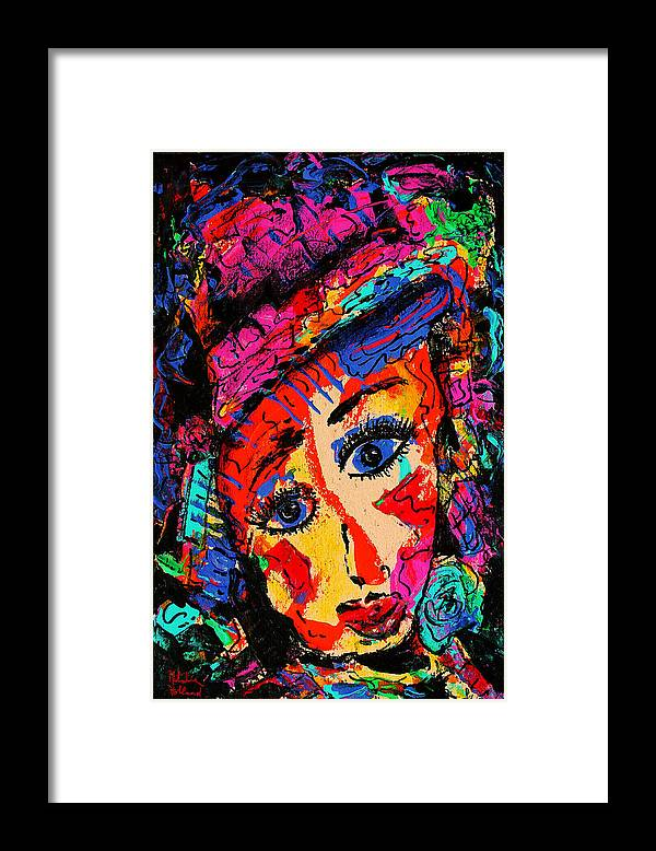 Face Framed Print featuring the mixed media Colorful Expression 19 by Natalie Holland
