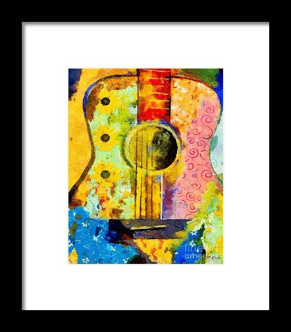 Guitar Framed Print featuring the painting Colorful Music by Elizabeth Coats