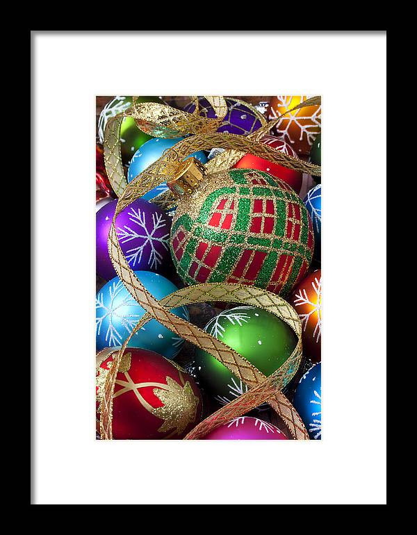 Colorful Ornaments Framed Print featuring the photograph Colorful Ornaments With Ribbon by Garry Gay