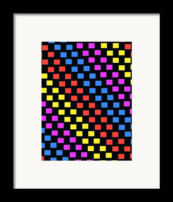 Louisa Framed Print featuring the digital art Colorful Squares by Louisa Knight
