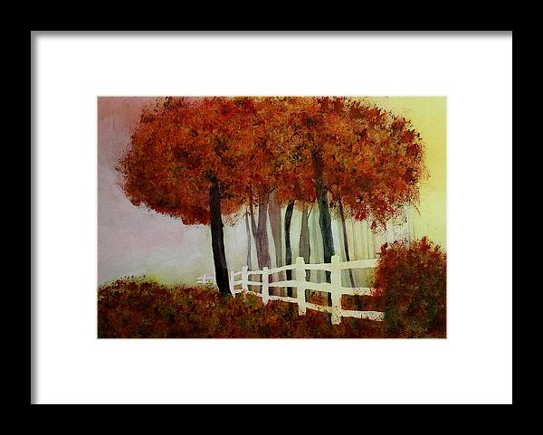 Trees Framed Print featuring the painting Colors of Autumn by Mary Gaines