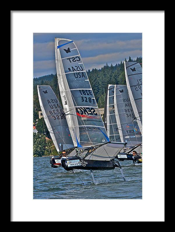 Columbia River Gorge Framed Print featuring the photograph Columbia Gorge Sailboat Racing by Steven Lapkin