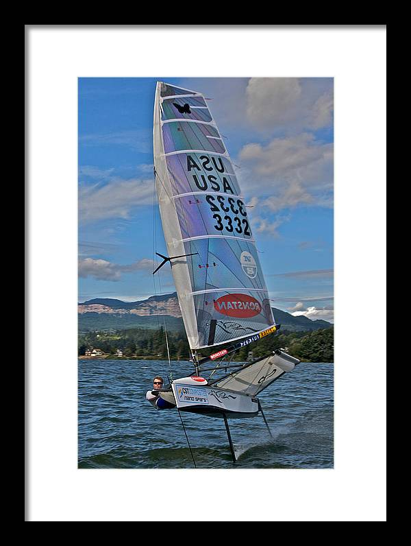 Columbia River Framed Print featuring the photograph Columbia River Gorge Sailboat Racing by Steven Lapkin
