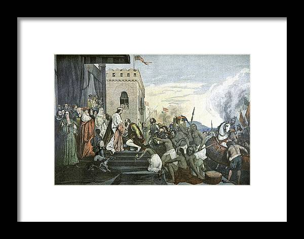 Christopher Columbus Framed Print featuring the photograph Columbus' Return From The Americas by Cci Archives