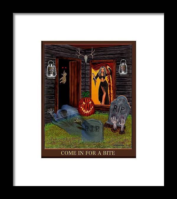 Female Vampire Framed Print featuring the digital art Come In For A Bite by Glenn Holbrook