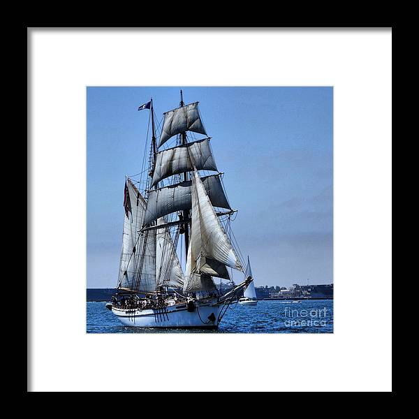 Ship Framed Print featuring the photograph Come Sail With Me by Phil Huettner