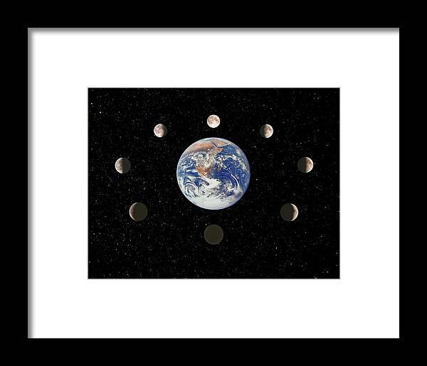 Moon Framed Print featuring the photograph Composite Image Of The Phases Of The Moon by John Sanford
