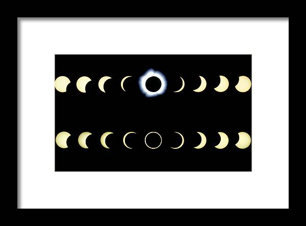 Eclipse Framed Print featuring the photograph Composite Time-lapse Images Of Solar Eclipses by Dr Fred Espenak