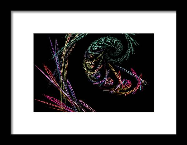 Power Framed Print featuring the digital art Computer Generated Abstract Fractal Flame Black Modern Art by Keith Webber Jr