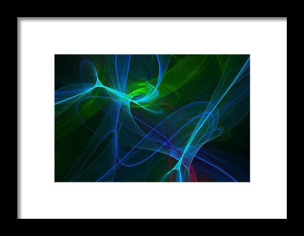 Green Framed Print featuring the digital art Computer Generated Green Blue Abstract Fractal Flame Modern Art by Keith Webber Jr