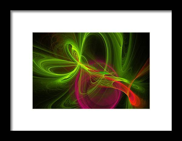 Green Framed Print featuring the digital art Computer Generated Green Magenta Abstract Fractal Modern Art by Keith Webber Jr