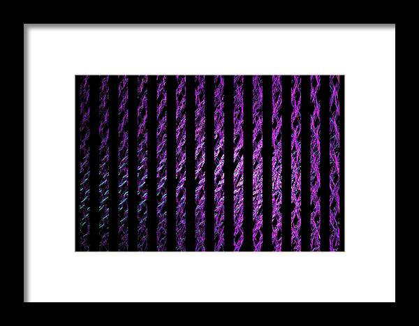 Magenta Framed Print featuring the digital art Computer Generated Magenta Abstract Fractal Flame Black Backgroud by Keith Webber Jr