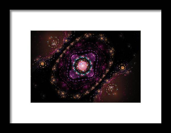 Pink Framed Print featuring the digital art Computer Generated Pink Magenta Abstract Fractal Flame Black Background by Keith Webber Jr
