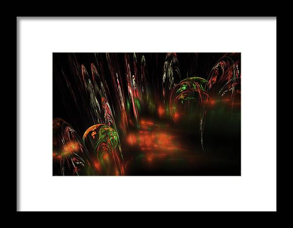 Red Framed Print featuring the digital art Computer Generated Red Green Abstract Fractal Flame Modern Art by Keith Webber Jr