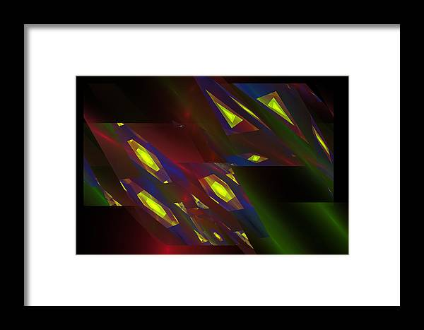 Geometric Framed Print featuring the digital art Computer Generated Triangles Abstract Fractal Flame Abstract Art by Keith Webber Jr