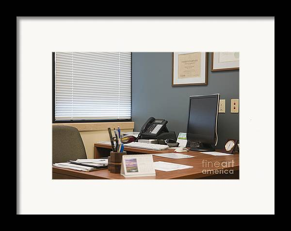Blinds Framed Print featuring the photograph Computer Monitor And Office Space by Andersen Ross