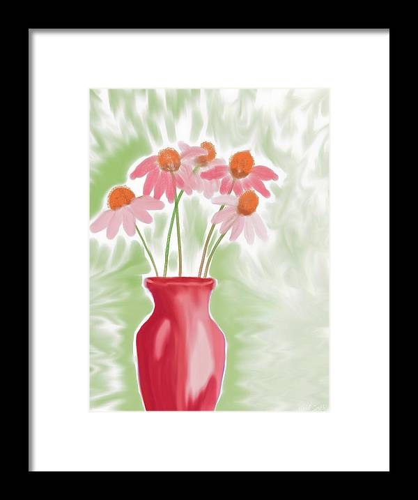 Vase Framed Print featuring the painting Coneflower Still Life by Heidi Smith