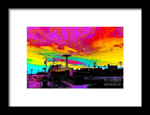 Coney Island Framed Print featuring the photograph Coney Island In Neon B Flat Minor by Kendall Eutemey