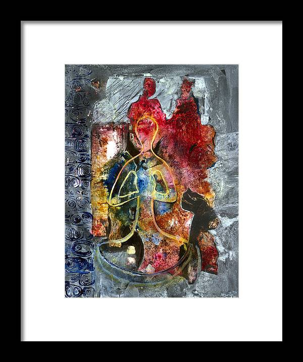 Yoga Framed Print featuring the painting Connecting by Phyllis Coniglio