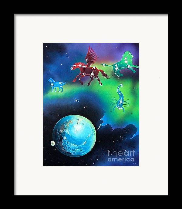 Fantasy Framed Print featuring the painting Constellations by Kimberlee Ketterman Edgar