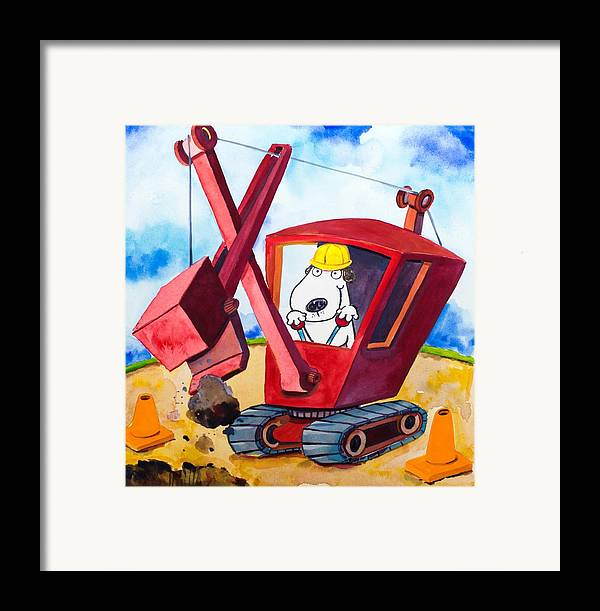 Dog Framed Print featuring the painting Construction Dogs 2 by Scott Nelson