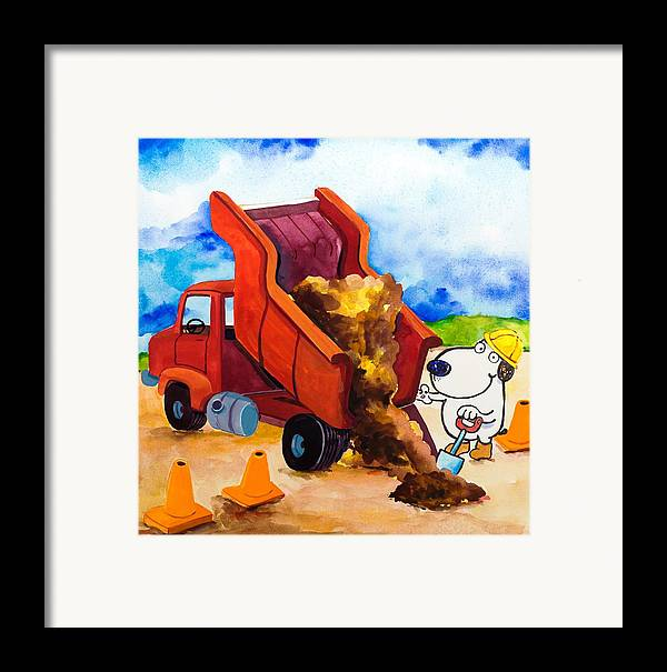 Dog Framed Print featuring the painting Construction Dogs 4 by Scott Nelson