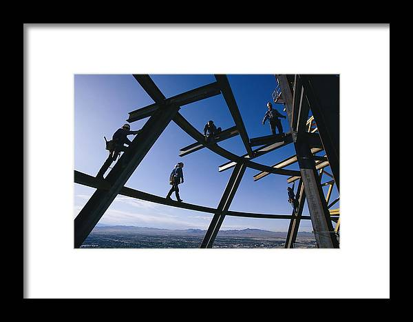 Color Image Framed Print featuring the photograph Construction Workers On Beams by Paul Chesley