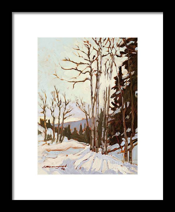 Aspen Trees Framed Print featuring the painting Cool Morning Sun by Chula Beauregard