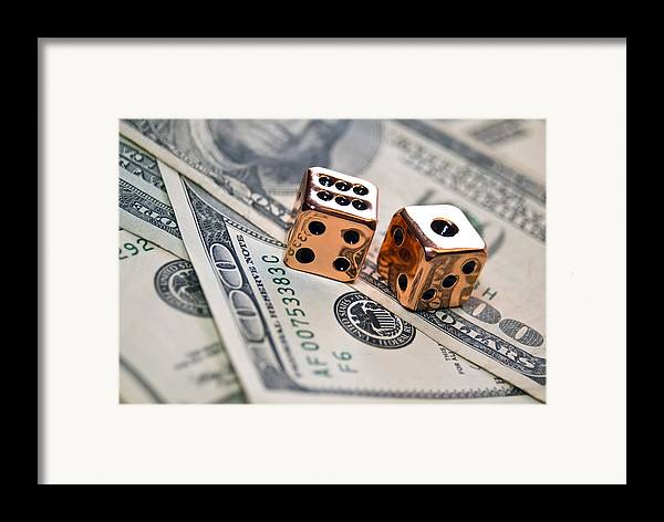 100 Framed Print featuring the photograph Copper Dice And Money by Susan Leggett