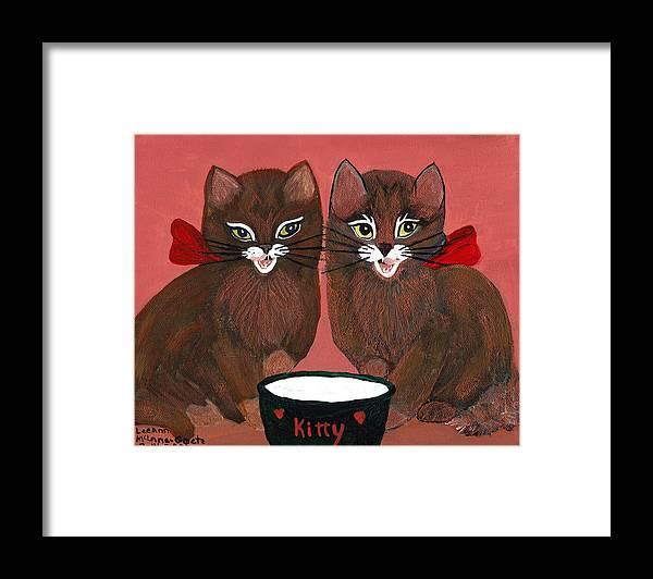 Animals Framed Print featuring the painting Copper Kitty by LeeAnn McLaneGoetz McLaneGoetzStudioLLCcom