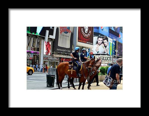 New York Framed Print featuring the photograph Cops In Manhattan by Pravine Chester