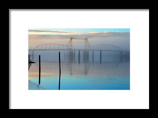 Coquille River Framed Print featuring the photograph Coquille River Bridge Sunrise by Tony and Kristi Middleton