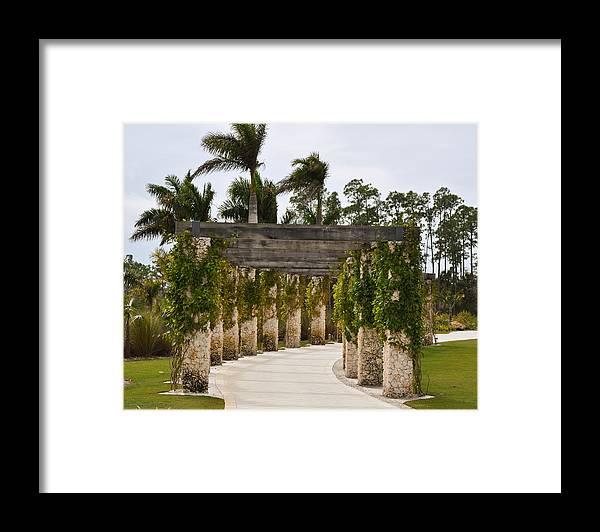 Naples Botanical Garden Framed Print featuring the photograph Coral Stone Pergola by Christine Stonebridge