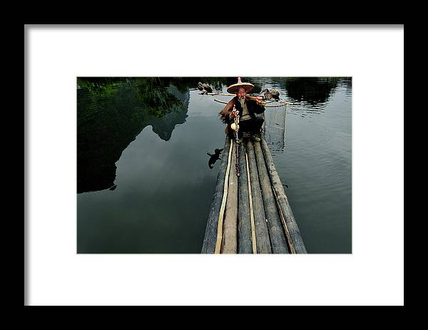 Yangshuo Framed Print featuring the photograph Cormorant Fisherman by John Banegas