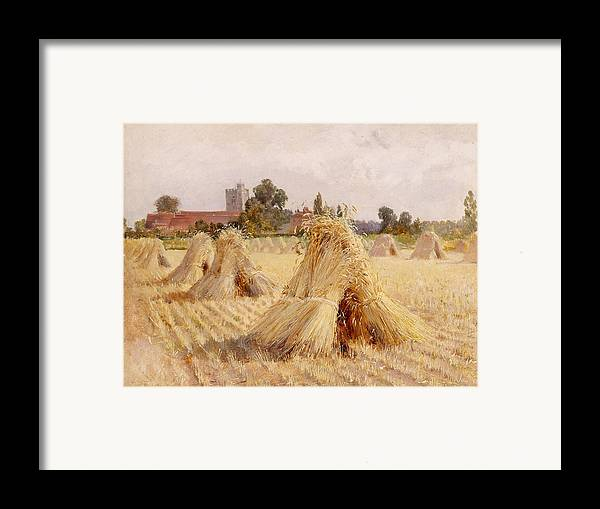 Corn Framed Print featuring the painting Corn Stooks By Bray Church by Heywood Hardy