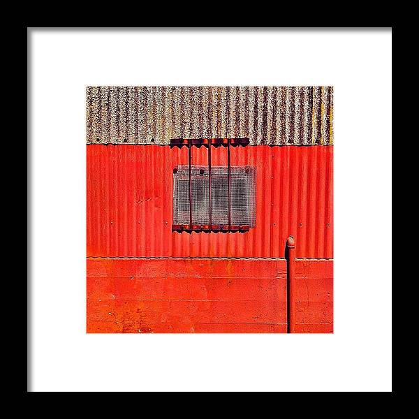 Red Industrial Wall Framed Print featuring the photograph Corrugated by Julie Gebhardt