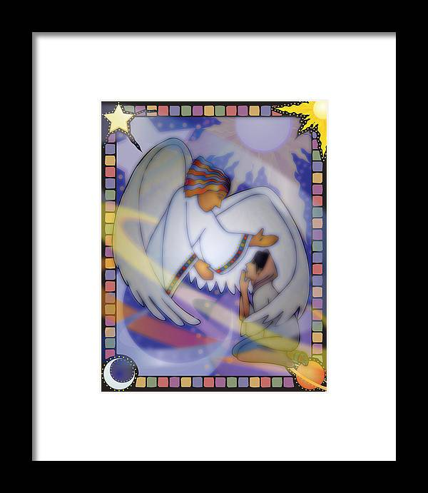 Annunciation Framed Print featuring the digital art Cosmic Oratorio by Merrill Miller