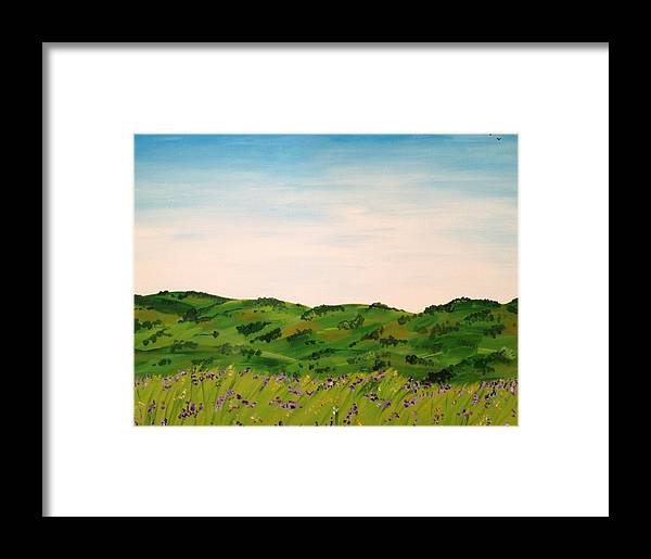 Landscape Framed Print featuring the painting Cotswolds by Malia Zaidi